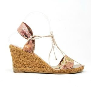 Stuart Weitzman Floral Leather Espadrille Wedges
